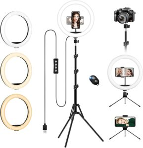 Ring Light avec Trépied Grand et Support de Téléphone, 12.6 Pouces LED Anneau Lumière, Selfie Anneau Lumineux Réglable