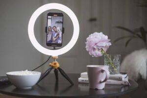support ring light téléphone