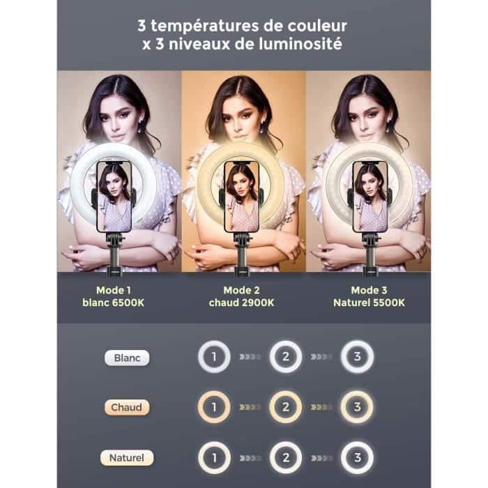 Mpow Perche Selfie Ring Light LED température