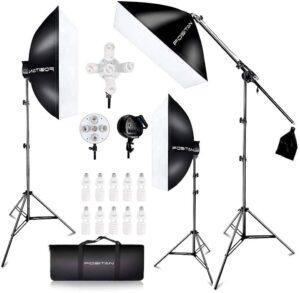 FOSITAN Kit d'Éclairage Studio 3X 20'' x 28'' Soft Box 11x45W Ampoules avec 3x2m Trépied