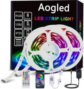 Aogled Ruban LED,Bluetooth Bande LED 10M avec Contrôle APP et Télécommande à 40 Touches